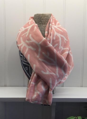 Branch Print Scarf - Pale Pink with White Branches & Navy & White Border